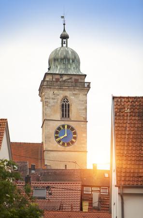 river: Stadtkirche Sankt Laurentius Church in Nuertingen, Germany Stock Photo