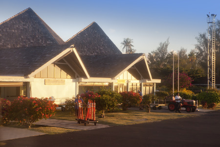 POLINESIA- JUNE 17: small airport on the tropical island Huahine on june 17, 2011 in French Polynesia Editoriali