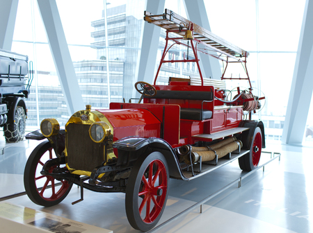 STUTTGART,GERMANY- MAY 31, 2012:  vintage  fire truck at the exposition of Mercedes museum Editorial