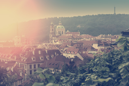 Prague, aerial view of Old Town roofs in the old city of Prague (Stare Mesto). retro effect Reklamní fotografie