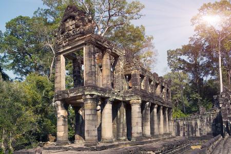 khan: gallery in temple Preah Khan ruins(12th Century) in Angkor Wat, Siem Reap, Cambodia