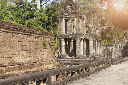 gallery in temple Preah Khan ruins(12th Century) in Angkor Wat, Siem Reap, Cambodia