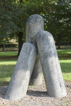 xv century: devil column, XV century, in Karlakhov garden. Vysehrad. Prague.