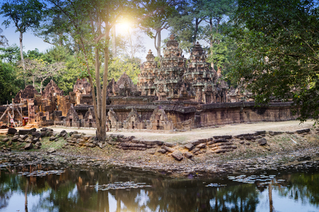 relic: Banteay Srey Temple ruins (Xth Century) , Siem Reap, Cambodia Stock Photo