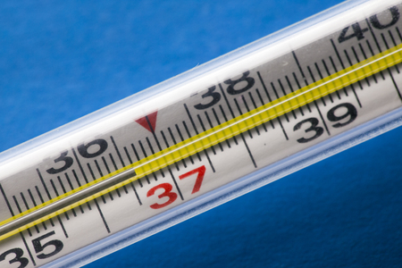 mercury thermometer. ideal temperature 36.6 Stock Photo