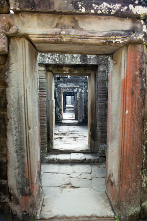 ruins of Ta Prohm temple in Angkor Wat (Siem Reap, Cambodia),12th century,