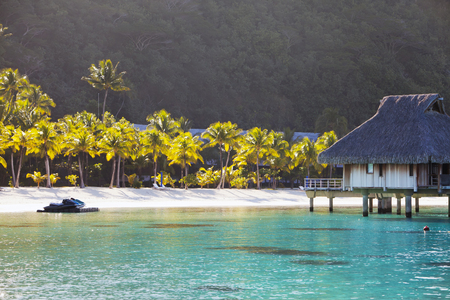Typical Polynesian landscape - island with palm trees and small houses on water in the ocean and mountains on a background