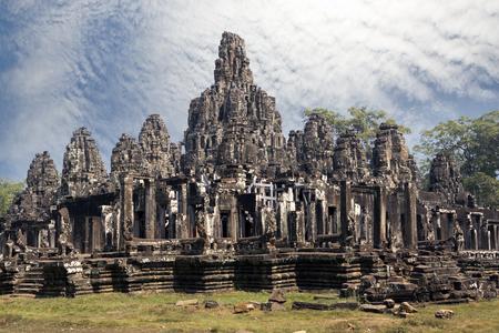 Ancient Bayon Temple (12th century)  At Angkor Wat, Siem Reap, Cambodia