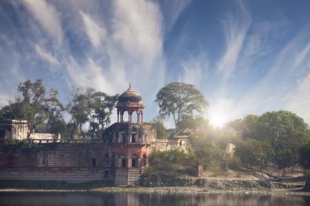 Ruins of ancient constructions near Taj Mahal. Agra, Uttar Pradesh, India   Stock Photo