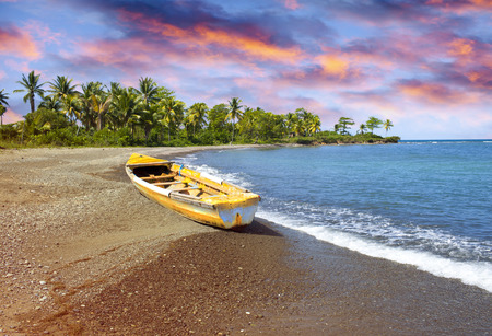 traditional wooden fishing boat on sandy sea coast with palm tree. Jamaica