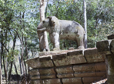 Prasat Damrei (means Elephant temple) ruin in the Koh Ker temple complex, Siem Reap, Cambodia Stock fotó