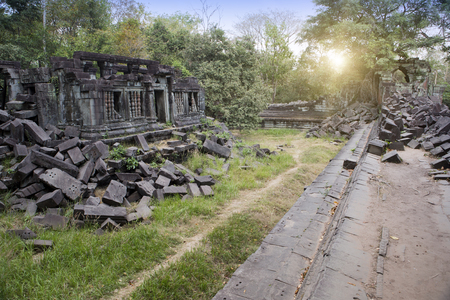 Beng Mealea temple  ruin in the Koh Ker complex, Siem Reap, Cambodia   Stock fotó