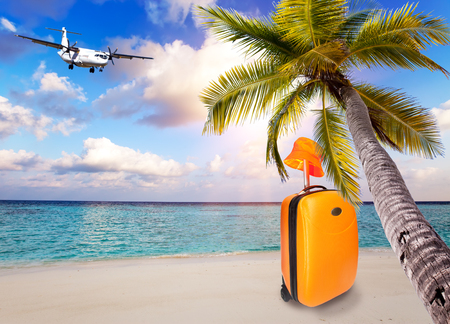 Bright orange suitcase and hat on the sandy beach by the sea under an inclined palm tree and the plane in the sky with clouds Stock Photo