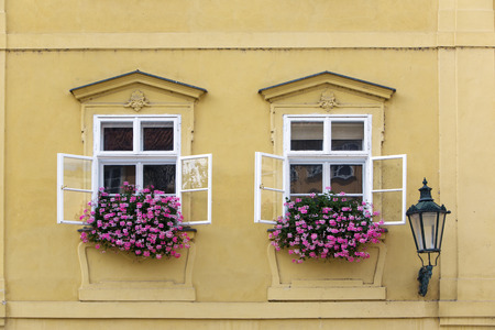 Prague. Window in the old house, decorated with flowering plants