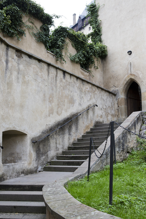 Karlstejn. An ancient staircase behind the fortress wall. Bohemia, Czech Republic