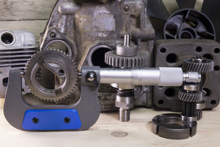 measurement  parameters of gears, details by  mechanical micrometer Stock Photo