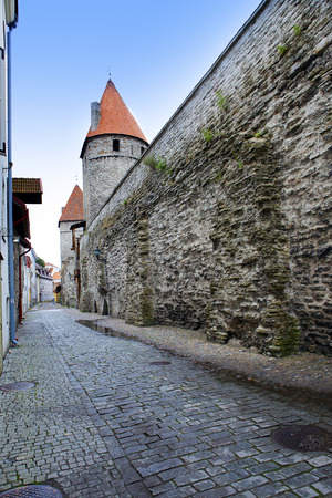 Medieval tower, part of the city wall, Tallinn, Estonia