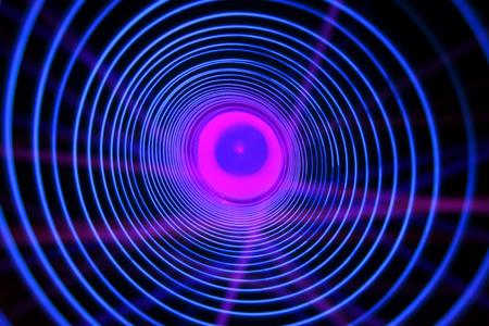 Abstrakter konzeptioneller Hintergrund mit futuristischem Hightech-Wurmlochtunnel Standard-Bild
