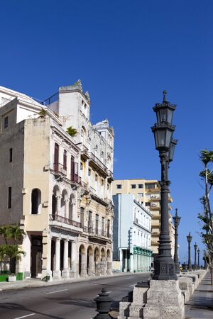 old buildings on the famous tourist street Malecon in Havana, Cuba