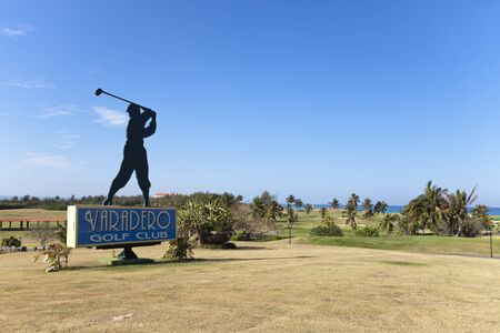 VARADERO, CUBA – FEBRUARY 5, 2013: Silhouette of golfer, sign for the Varadero Golf