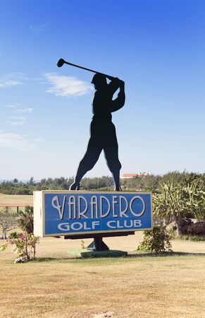VARADERO, CUBA – FEBRUARY 5, 2013: Silhouette of golfer, sign for the Varadero Golf Redakční