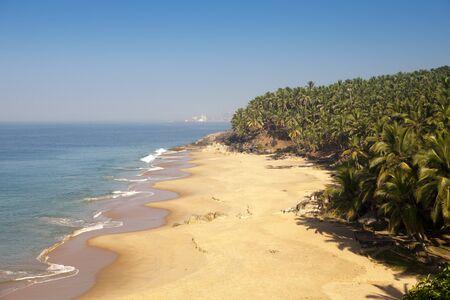 seashore with  palm trees. India. Kerala Stock Photo