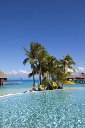 View of the sandy beach with palm trees and pool, Bora Bora, French Polynesia