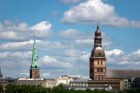 view of the old city and Evangelical Lutheran Riga Dome Cathedral. Riga, Latvia.