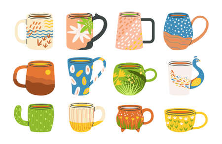 Flat vector cartoon set of various modern fashion cups with handles decorated with design elements. A collection of colorful mugs with drinks. Side view. White background.