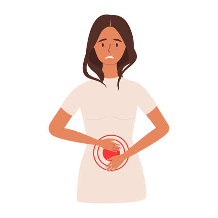 A flat vector cartoon illustration of a woman experiencing pain or cramps in the abdominal area. Problems of the digestive system. Isolated design on a white background.