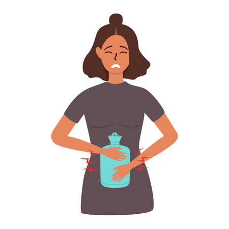 A flat vector cartoon illustration of an unhappy woman who relieves pain in the abdominal area with a rubber heating pad.