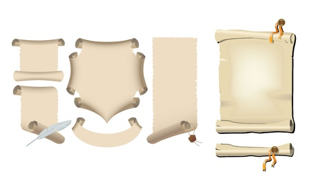 ancient scroll art set Vector