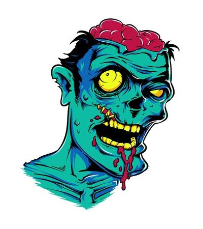 creepy monster: testa verde cervello mostro