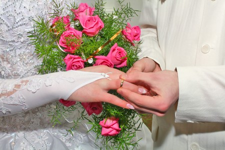 fiancee: wedding ring and bouquet for fiance and fiancee