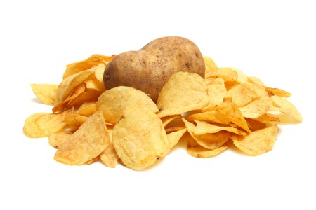 starch: snack chips potato  isolated on white background Stock Photo