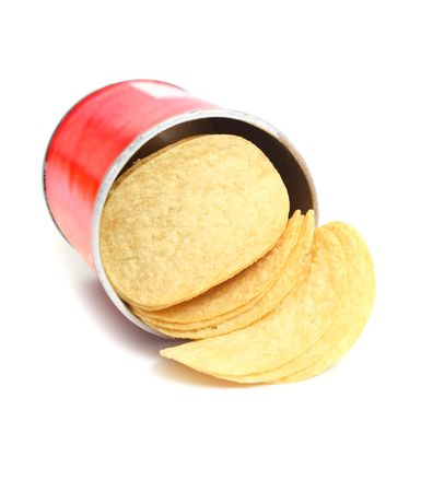 starch: chips potato in box  isolated on white background Stock Photo