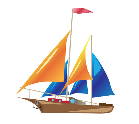 ship with sails illustration isolated on white background Illustration