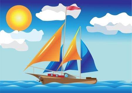 sea side: ship with sails at the sea side illustration isolated on white background