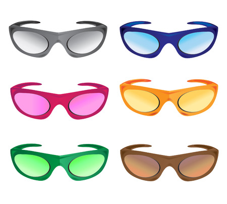broun: much colors sunglasses accessory vector illustration isolated on white background Illustration