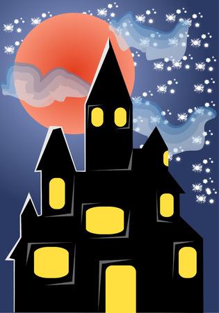 horrific: old dark castle vector illustration