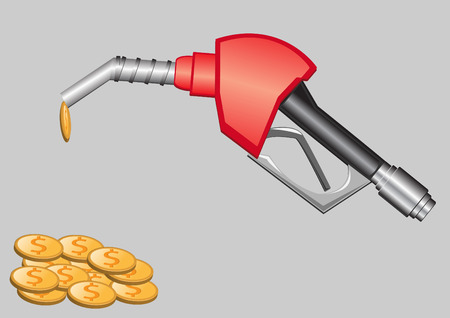 gas pump nozzle and money vector illustration Stock Vector - 5993234