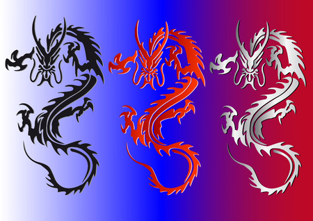 black red and silver dragons vector illustration Stock Vector - 6081355