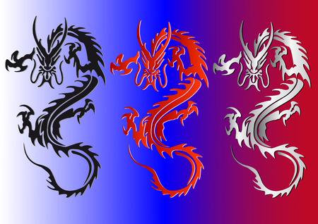 Ilustraci�n de vectores de dragones de rojos y plateado negros