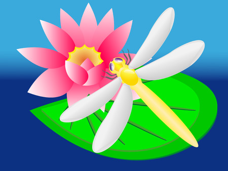 lily vector: dragonfly on lily vector illustration