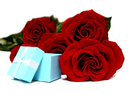 blue box for gifts and rose isolated on white background photo