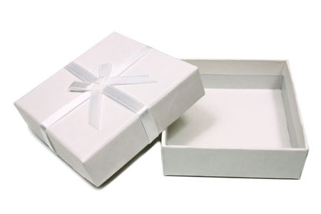 open gift box: open white box for gifts isolated on white background Stock Photo