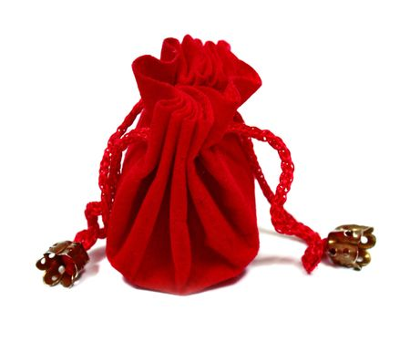 sac: red sac for a gift isolated on white background