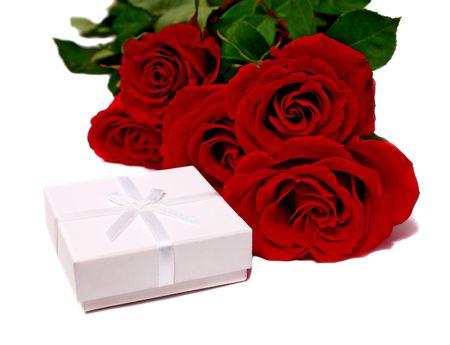 white box for gifts and rose isolated on white background photo