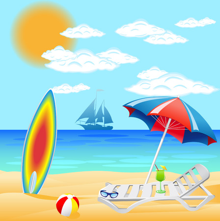 siervo: conjunto de playa en el mar Vectores