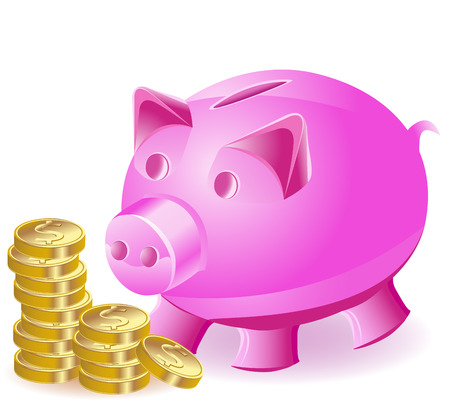 money-box is a pig and gold coins Stock Vector - 6795895